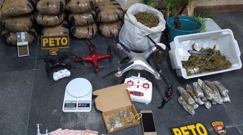 Polícia Militar desmonta esquema de transporte de maconha com drones